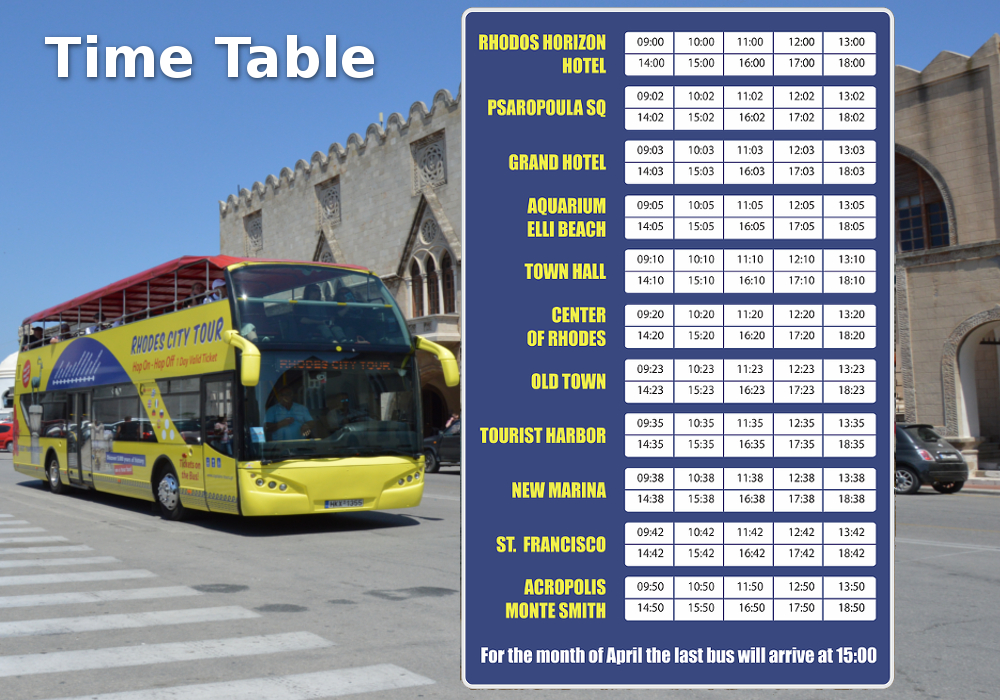 Rhodes-tour met open bus Programma | Captains Tours